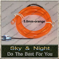 A quality Orange Neon light tube 5.0mm 50M el wire +220v Inverter +free shipping ten colors are available