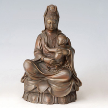 ATLIE BRONZES  statue Guanyin Bronze buddha KWAN-YIN Holding Child Figurines Chinese Buddha sculpture home decor