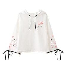 Mori girl Japanese Autumn Sweatshirt New embroidery cherry bow flare sleeves hooded women b