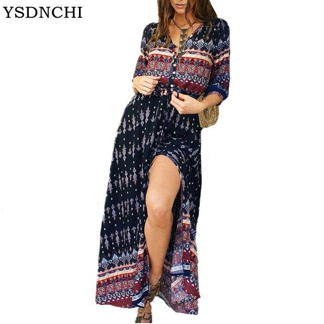 1d9bd3497d5b9 US $14.8  Aliexpress.com : Buy Women Long Maxi Dresses Bohemia V neck Three  Quarter Sleeve Floral Print Ethnic Summer Beach Female Split Stylish Style  ...