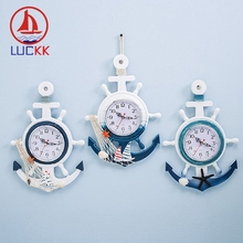 LUCKK Mediterranean Retro Nautical Wall Hanging Clock Home Decoration Crafts Shells Rudder Creative Sea Room Art Decor Ornaments