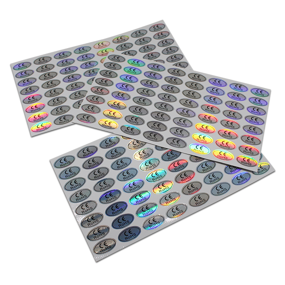 Oval Self-adhesive Hologram CE RoHS Stickers For Electronics Identification Label 1.1*2cm CE Certificated Labeling Laser Sticker address adhesive stickers labels 100 100mm 500 sheets thermal papers for labeling and sealing marks wholesale with a good price