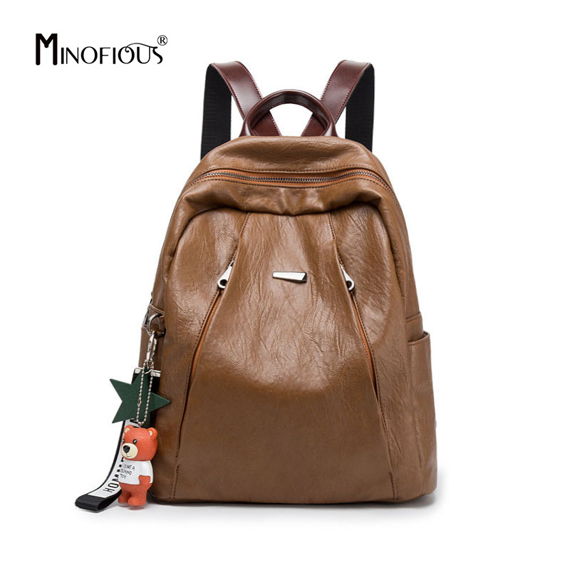 MINOFIOUS Women Genuine Leather Fashion Backpack Multifunction Back Bag  Solid Simple School Bags New Large Capacity BackpacksMINOFIOUS Women Genuine Leather Fashion Backpack Multifunction Back Bag  Solid Simple School Bags New Large Capacity Backpacks