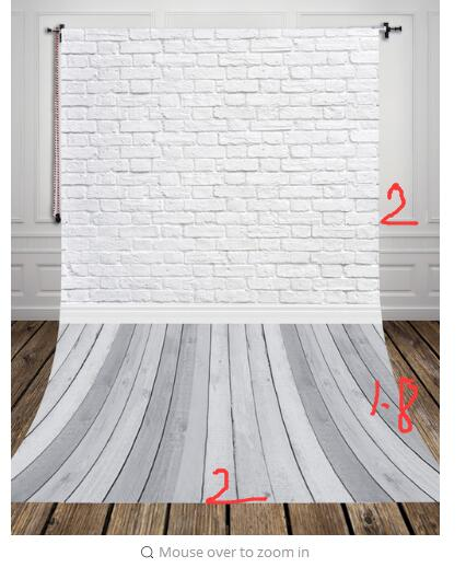 2x3.8m Grey Wood Floor Studio Photo Background Vinyl White Bricks Photography Backdrop for Pets Cakes Photos D-9713