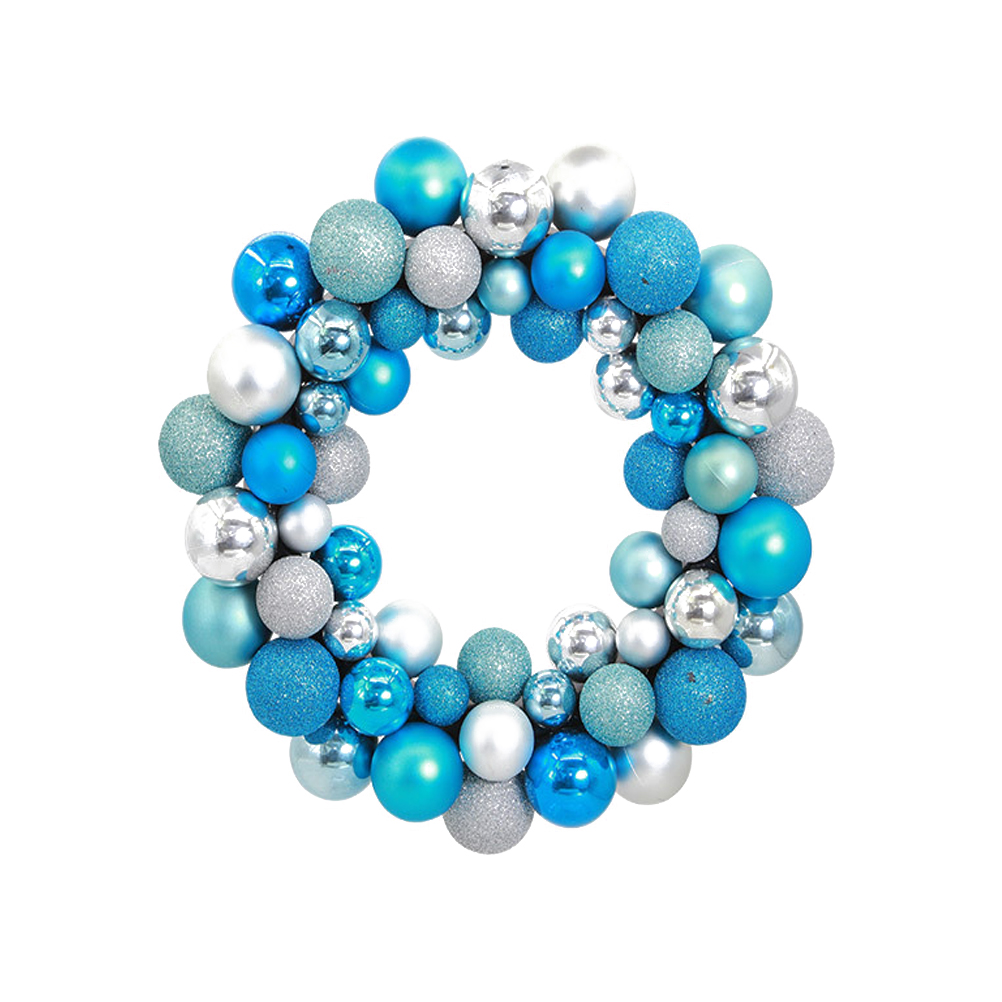 Silver Christmas Wreath.Us 9 54 39 Off Christmas Wreath Ball Ornaments Shatterproof Front Door Window Hanging Xmas Decoration Silver And Blue In Party Diy Decorations