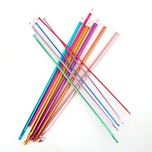 11Pcs Colored Candy Colored Crochet Hooks Aluminum Knitting Needles Handle Drop Shipping