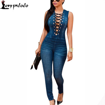 Catsuit Sleeveless Dark Denim Overalls Sexy Bodysuit Women Long Pants Deep V Neck Rompers Womens Jumpsuit Party Night Club Wear