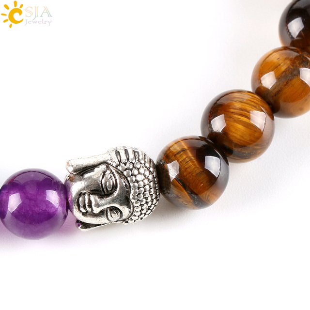 CSJA 8mm Natural Round Stone Tiger Eye Beads Buddha Bracelets 7 Chakra Healing Mala Meditation Prayer Yoga Women Jewellery E329 5