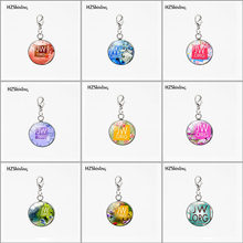 Fashion Stainless Steel JW.ORG Betterfly Flowers Glass Pendants Round Charms Any Occasion Car Necklace Keyring Detachable(China)