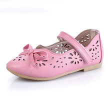 WENDYWU Kids Shoes For Girl 2017 Autumn Arrival Bow Hollow Girl Party Dress Solid Cute Fashion