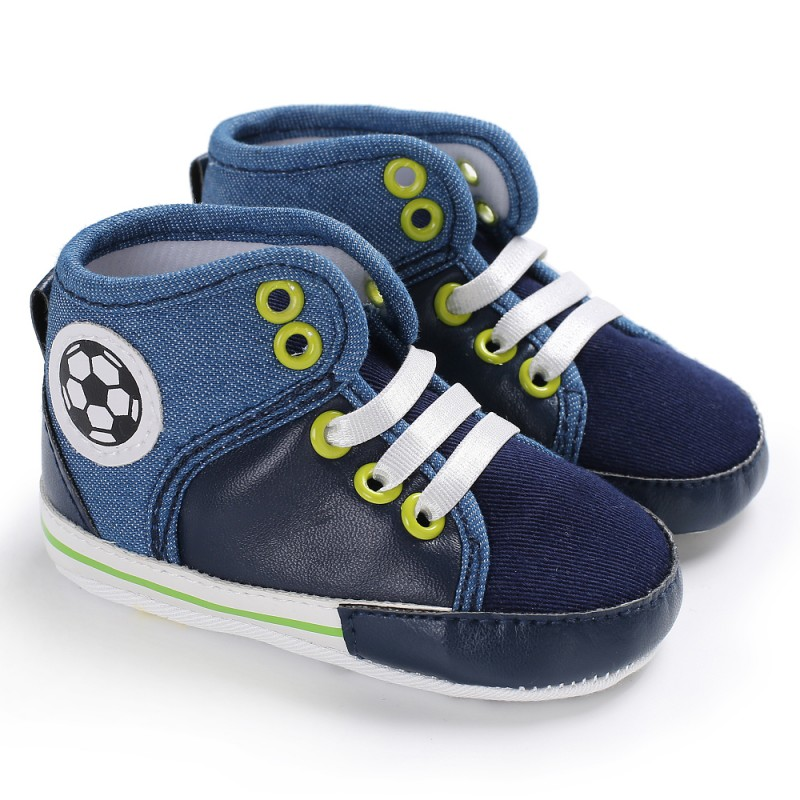 Newborn Baby Toddler Shoes T-tied Canvas High Top Spring/Autumn For 0-18 Months Baby Lace-Up Causal First Walkers