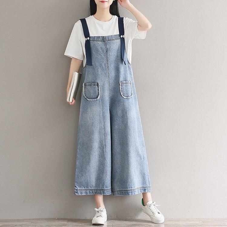 Женский синий повседневный комбинезон с широкими штанинами, женские джинсы, комбинезоны, комбинезоны, женский свободный джинсовый комбине