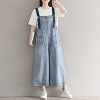 Women Blue Casual Wide Leg Jeans Jumpsuit For Ladies Jean Jumpsuits Rompers Womens Loose Denim Overall Bell Bottom Plus Size