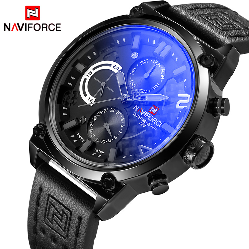 NAVIFORCE Top Brand Mens Fashion Sport Watches Men Full Steel Quartz Watch Man 24 Hour Date Analog Wristwatch Relogio Masculino weide popular brand new fashion digital led watch men waterproof sport watches man white dial stainless steel relogio masculino