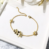 Women Fashion Bridal Jewelry Flower rhinestone Charm Bracelets Gold Color Crystal Statement Bracelets & Bangles