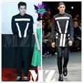 2016 Novo homem Cantor DJ Discotecas EXO Kris Wu com dinheiro costura preto e branco auto-camisas calças aventais trajes, S-5XL