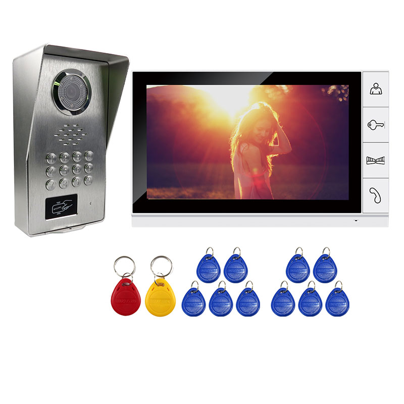 Grenseure FREE SHIPPING 9 LCD White Screen Video Door Phone Intercom System + Metal RFID Code Keypad Unlock Doorbell Camera free shipping 7 screen video door phone intercom system fingerprint code keypad unlock door camera electric mechanical lock