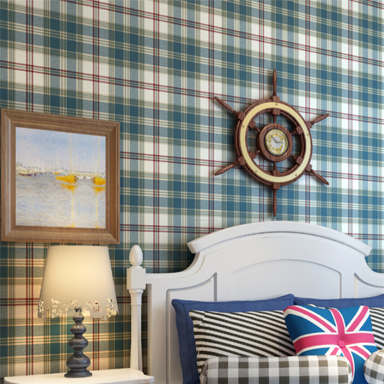 ФОТО High quality Scotland Lattice Pattern Non-Woven Wallpaper For Study Bedroom Background Wall paper Roll