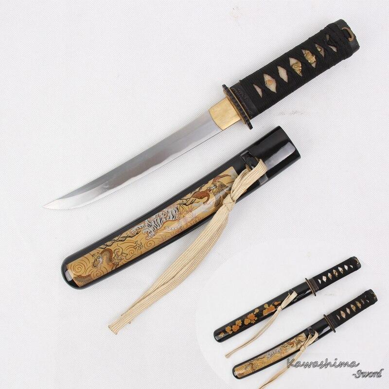 Japonês Wakizashi tanto Aço Carbono Artesanal Tigre Padrão Bainha Pequena Espada Samurai Faca Abridor de Carta Fornecimento de Nitidez