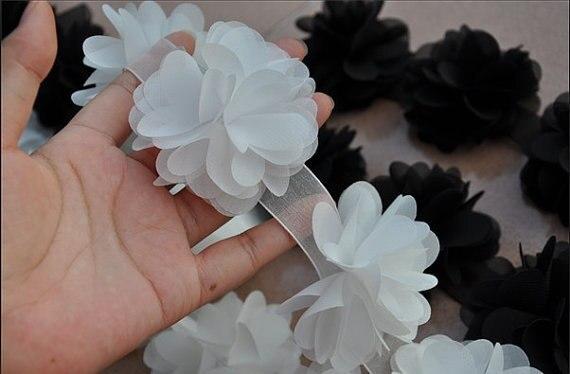 Lace trim 3d white chiffon rosette blossom trim fabric flowers 1yard lace trim 3d white chiffon rosette blossom trim fabric flowers 1yard in lace from home garden on aliexpress alibaba group mightylinksfo