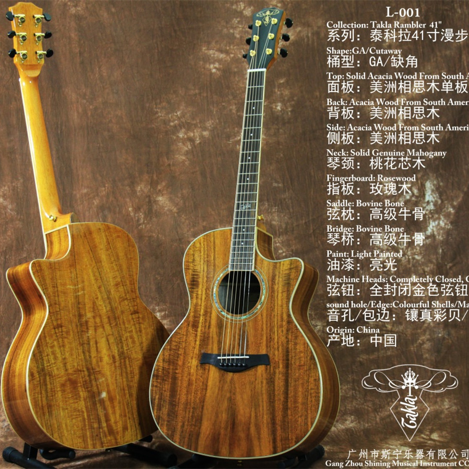 GA Design and Cutaway Solid Acacia Wood From South America Top and Back andi sides Acoustic Guitar 41 Guitarra Free Shipping high quality solid wood guitar 41 inch spruce wood panel acoustic guitar guitarra free shipping