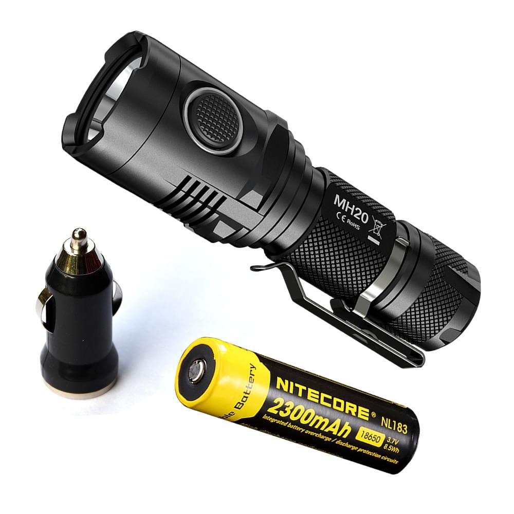 Topsale NITECORE MH20 18650 Battery 1000 Lumen U2 LED Rechargeable MINI Flashlight Waterproof Torch USB Car Charge Free Shipping fenix hp25r 1000 lumen headlamp rechargeable led flashlight