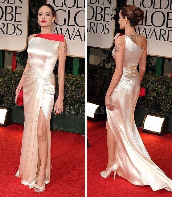Satin Sheath One Shoulder Floor Length Angelina Jolie At 2014 Golden ...