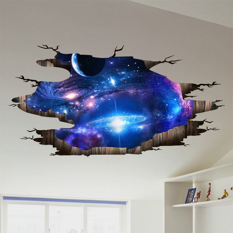 [SHIJUEHEZI] Universe Galaxy 3D Visual Effect Ceiling Stickers DIY Milky Way Wall Art for Kids Rooms Toilet Floor Decoration