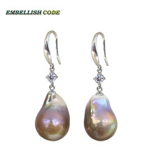 pearl baroque flame ball style hook earring purple gold color natural pearls with zircon 925 Sterling silver polite for lady