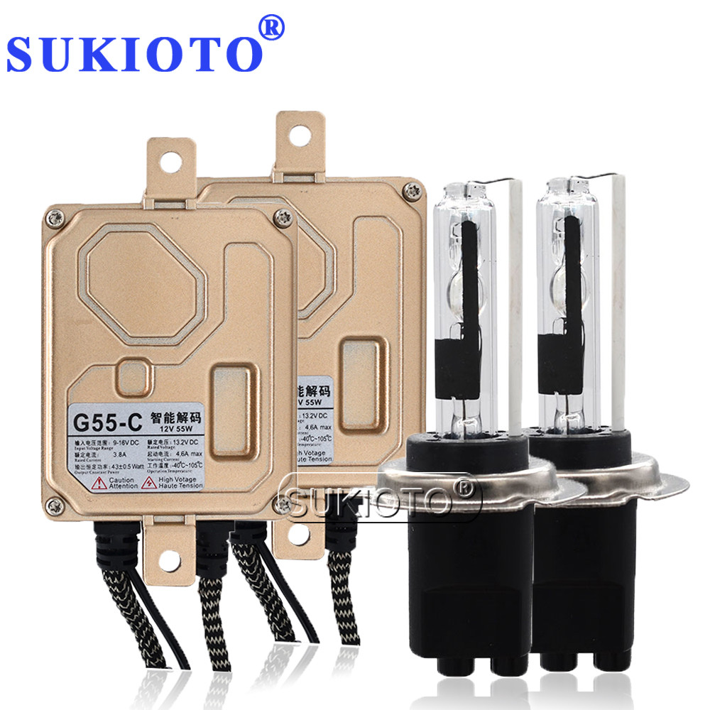 SUKIOTO 55W CANBUS NO Error Xenon H7CR HID Kit Headlight Lamp Bulb 4300K 5000K 6000K 8000K AC Ballast EMC Car Accessory Light