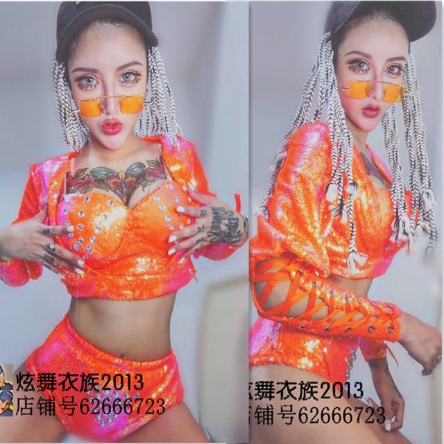 Партия ночной клуб певица танцор этап одежда женская сексуальные костюмы звезды бар показать Блестками костюм ремни