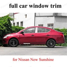 with center pillar Exterior Car Accessories  Stainless Steel decoration strip For N-issan New Sunshine full Window Trim