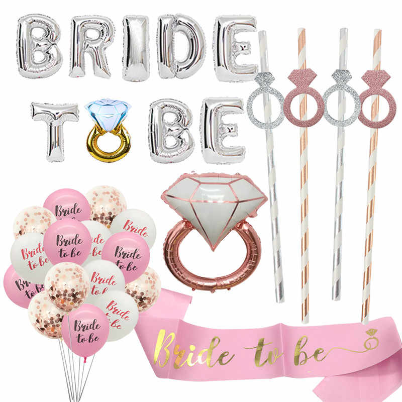 Chicinlife Bride to be Balloons Bachelorette Hen Party Decoration Diamond Ring Balloon Wedding Decoration Bridal Shower