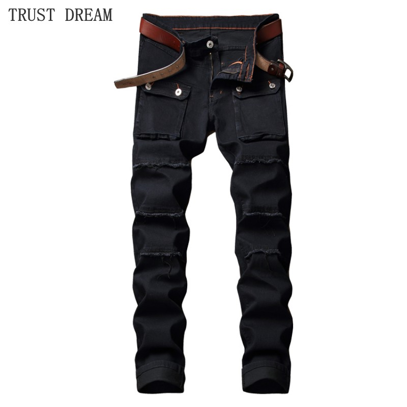 Europeans Style Man Patchwork Slim Jeans Solid Black Big Pockets Men Motor Denim Cargo Pants Male Jeans Homme Regular