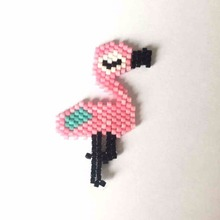 Shinus Wholesale 10Pcs/lot Miyuki Flamingo Shape Animal Jewelry Pendants Design Accessories Woven Mexico Beads DIY