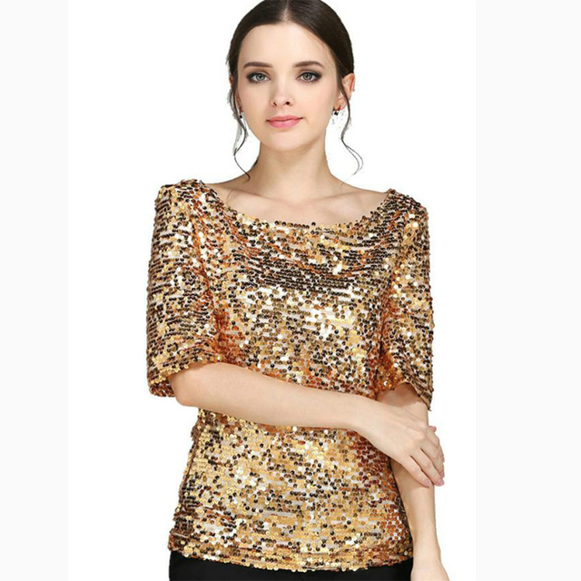 f6ff4d80317 LYFZOUS Bling Sequin short-sleeve T-shirts Women Gold Sexy Tops O-neck  Shiny Outfits T-shirt for Dance Party Club Plus Size Tees