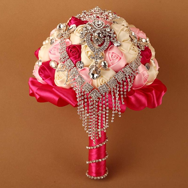 Hot Sale 2016 Elegant Customized Bridal YIYI Bouquet With Pearl Beaded Brooch Romantic Wedding Colorful Bride 's Bouquet WD0023