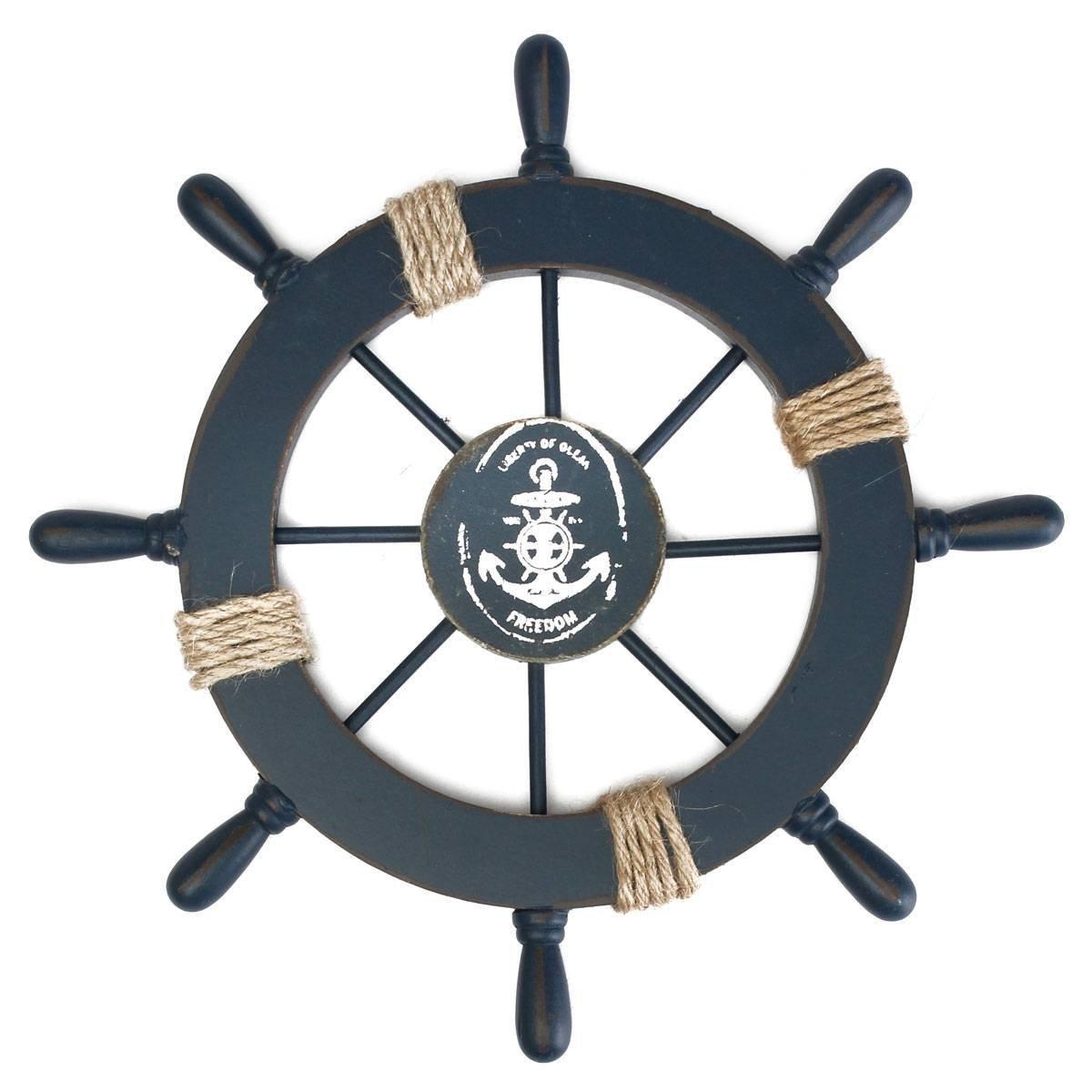 Mediterranean Nautical Wooden Boat Ship Wheel Helm Home Wall Party Decoration (Dark Blue)