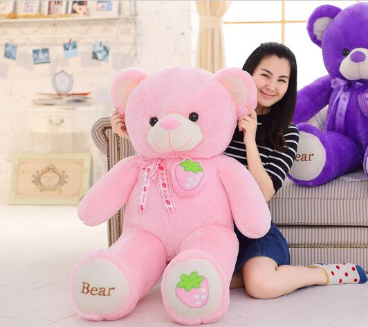 stuffed fillings toy large 140cm pink strawberry fruit teddy Bear plush toy bear doll hugging pillow Christmas gift,b0794 купить