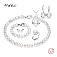 MeiBaPJ 925 Sterling Silver 6 Items Sets 100% Real Natural Pearl Jewelry Set For Women Top Quality White Color Gift Box
