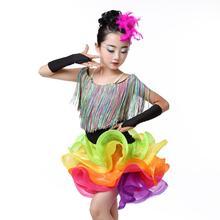 Girls Kids Rainbow Latin Dress Costume Salsa Tassel Dancewear Dancing Tango Chacha Stage show Layered