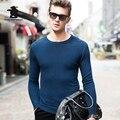 Высокое качество мужские Пуловеры Бренд Осень Зима Мода Пур Цвет Тонкий 100% Мериносовой Шерсти Вокруг Шеи Случайные Свитер Мужчин C3EM1Y002
