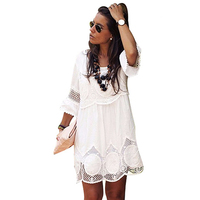 PEONFLY Plus Size S 6XL Bodycon Peplum Flower Lace Dress Floral White Dress Stylish Sexy O