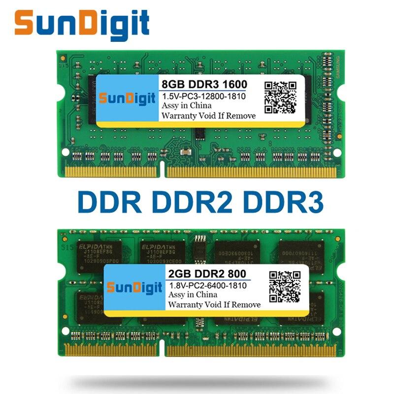 SunDigit DDR1 DDR2 DDR3 1600 Mhz Memória Ram Laptop 1333 800 400 GB 4 GB 2 8 GB 1 GB 512 MB para Notebook Sodimm Memoria DDR 1 2 3