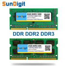 SunDigit Laptop Memory Ram DDR1 DDR2 DDR3  1600 Mhz 1333 800 400  8GB 4GB 2GB 1GB 512MB for Notebook Sodimm Memoria DDR 1 2 3 цена в Москве и Питере