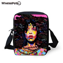 WHOSEPET Black Art Afro Printing African girls Women Messenger Bag Crossbody for Purse Small Phone Coin Bags Handbags