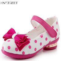 Fashion Hot Girls Princess Shoes Cute Bow Little Girls Shoes Dot Good Qualith Leather Kids Shoes