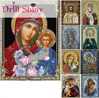 3d Embroidery With Diamonds Rhinestone Diamond Mosaic Icons Virgin Jesus Painting Cross Stitch Kits Beadwork Needlework