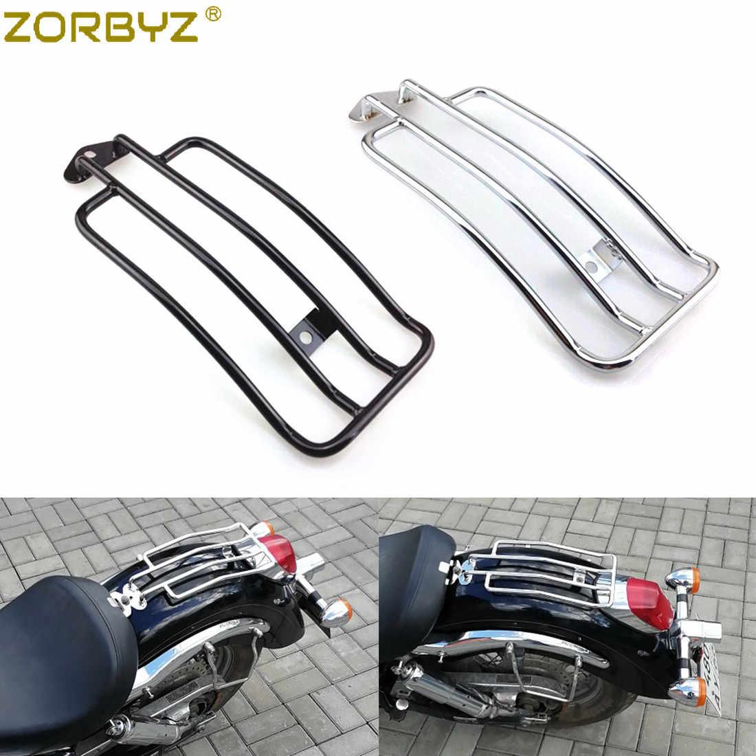 ZORBYZ Motorrad Schwarz/Chrom Hinten Solo Sitz Gepäck Rack Träger Für Honda Shadow Aero 750 2004