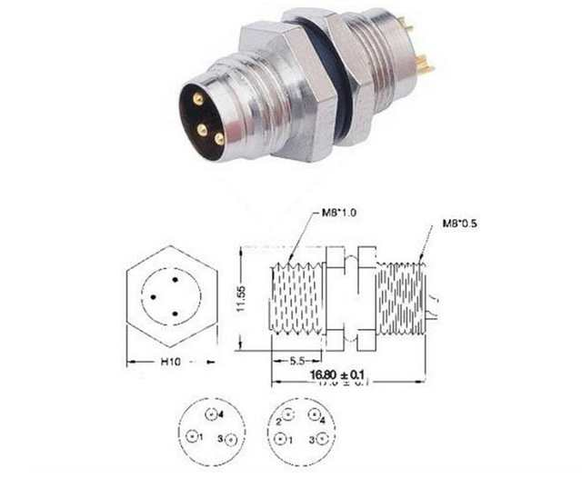 5pcs M8 3pin, 4 pin locking Connectors Aviation Plug Socket ...  Pin M Connector Wiring Diagram on